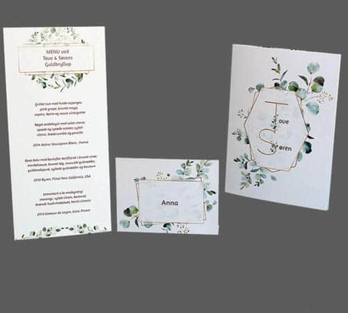 Guldbryllupskort med eucalyptus og guld ramme