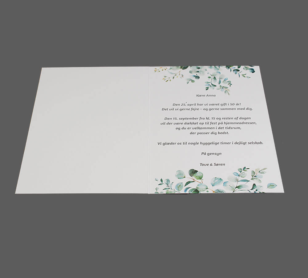 Invitation til guldbryllup med eucalyptusgrene