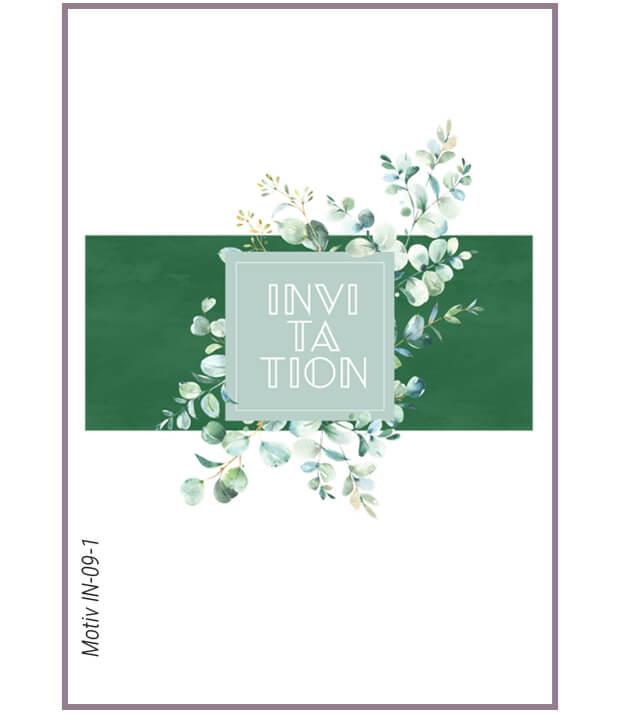 Invitation med eucalyptus på grøn baggrund