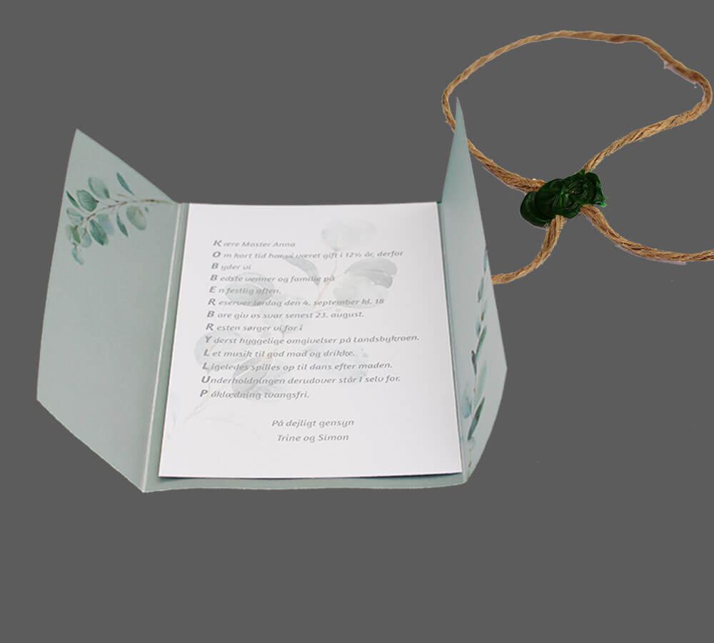 invitation indsat i vellum med eucalypts, Sejlgarn med grønt segl