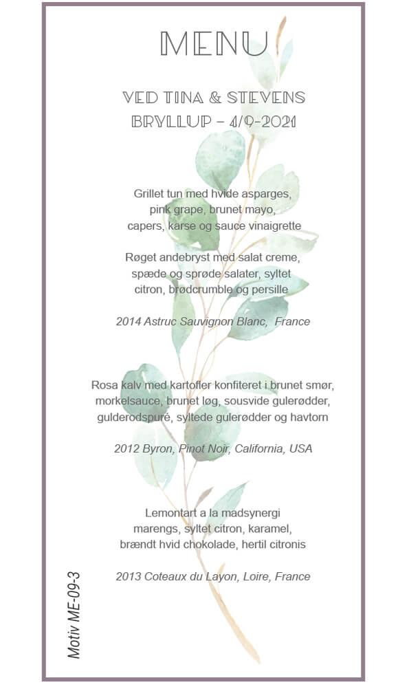 Menukort med eucalyptusgrene - Bryllup