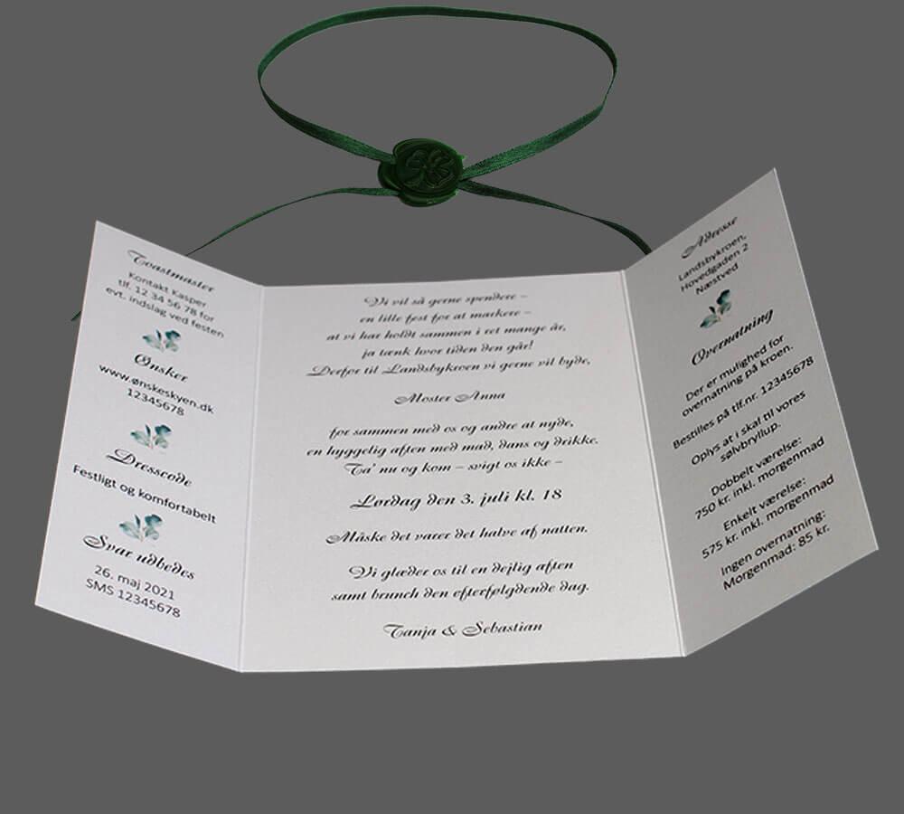 Invitation som foldekort, bundet med bånd m. segl. Eucalyptus