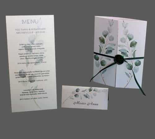 Invitationskort, menukort og bordkort med eucalyptus til sølvbryllup