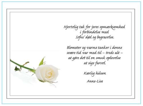 Takkekort ved begravelse med hvid rose